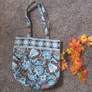 Vera Bradley Retired Tote Bag Java Blue Brown